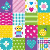 Happy patchwork pattern collection — Stock Vector