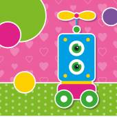 Cute robot greeting card — Stock Vector