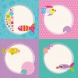 Funky cartoon fish cards set — Vector de stock  #62901109