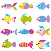 Colorful cartoon funky fish pattern — Stock Vector