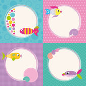 Funky cartoon fish cards set — Stock Vector