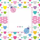 Ladybugs and hearts greeting card — Stock vektor