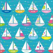 Colorful boats pattern — Stock Vector