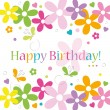 Hearts flowers and butterflies happy birthday card — Stock Vector #62993683