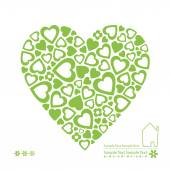Green ecology heart card — ストックベクタ