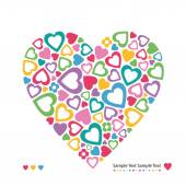 Colorful hearts greeting card — Stock Vector