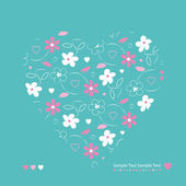 Flowery heart greeting card — Stock Vector