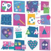 Hearts flowers and presents pattern — Stock Vector