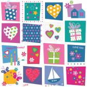 Hearts flowers and gifts pattern — Stockvektor