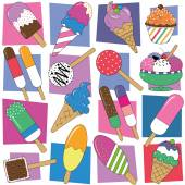Ice cream collection pattern — Stock Vector
