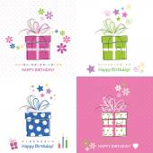 Happy birthday presents card set — Stock Vector