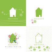 Ecology house symbol set — Stock Vector