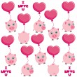 Pigs flying on hearts — Stock Vector #62964659