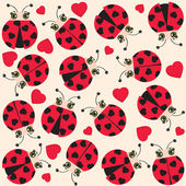 Ladybugs and hearts card — Vettoriale Stock