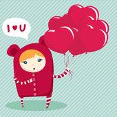 Valentine's day postcard — Vector de stock
