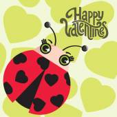 Valentine's day postcard with  ladybug — Vector de stock