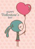Valentine's day postcard with  girl — Vector de stock
