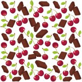 Cherry and chocolate background. — Stock Vector