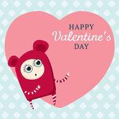 Cartoon character on big heart. — Vector de stock