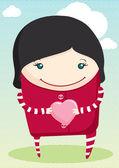 Cartoon girl holding heart — Vector de stock