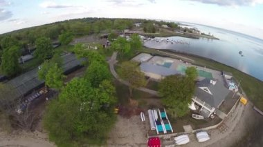 Aerial view of a marina — Stockvideo