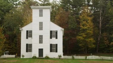 Historic white building in New England — Stock Video