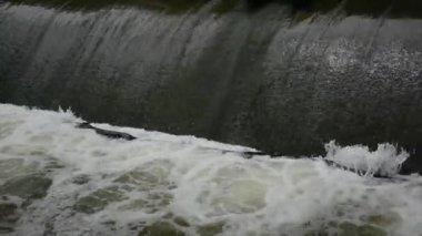 Rushing water spillway — Stock Video