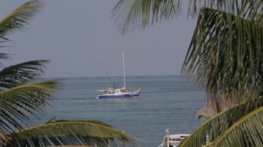 A sailboat in the Carribean Sea — Stock Video