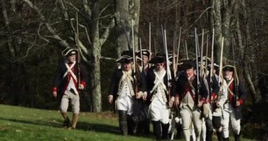 Slow motion 4K, Revolutionary War reenactment — Stock Video