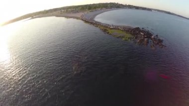 Panoramic aerials of Compo Beach in Westport — Stock Video
