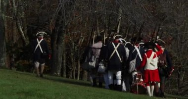4K slow motion, Revolutionary War reenactment — Stock Video