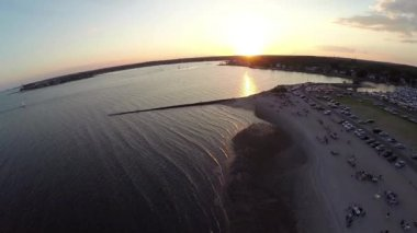 New England aerials at sunset — Stock Video