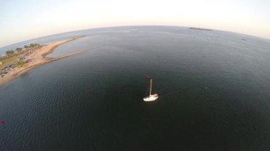 Sailboat out at sea — Stock Video