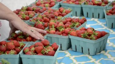 A shopper buys a carton of strawberries — Stock Video
