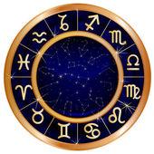 Gold blue zodiac circle — Stock Vector