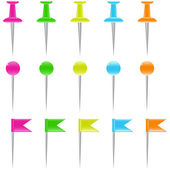Set of color shiny pins — Vetor de Stock