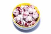 Strawberry with cream and sugar — Stock Photo