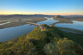 Evening over a wide river valley. — Stock Photo