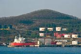 Tanker FPMC20 near the oil terminal company Rosneft. Nakhodka Bay. East (Japan) Sea. 04.05.2014 — Stock Photo