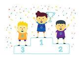 Three ranking winner kids — Stock Vector