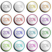 Button Silver Shiny 20 PERCENT — Stock Photo