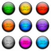 Button Color TECHSUPPORT — Zdjęcie stockowe