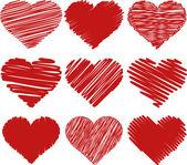 Illustration painted hearts — Cтоковый вектор