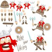 Cartoon funny viking set — Stock Vector