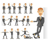 Businessman in business suit in various poses. — Stock Vector