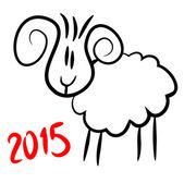 Simple Christmas sheep symbol of 2015 — Stock Vector