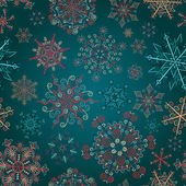 Seamless pattern of colored openwork snowflakes — Stock Vector