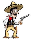 Cowboy in a sombrero with a gun. — Stockvektor