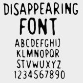 Disappearing font. Deliquescent vanishing font. — Stock Vector