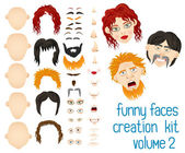 Set of elements to create a fun unique faces. — Stock Vector